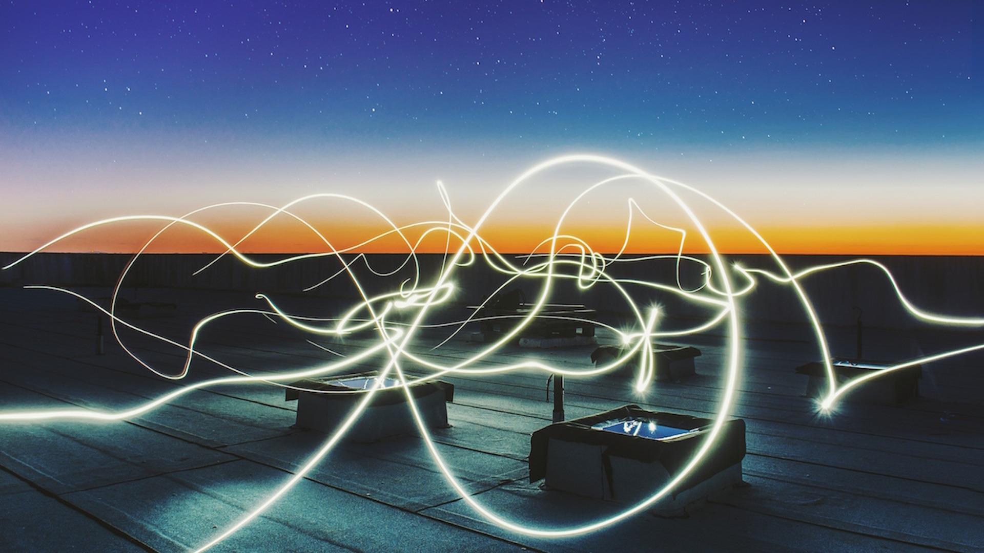 Laser trails at night image Bristol content Marketing